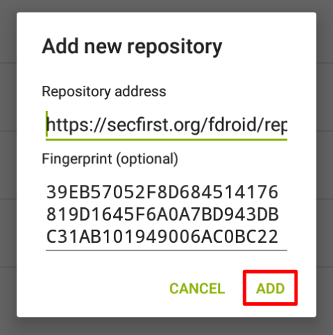 F-droid - Add new repository