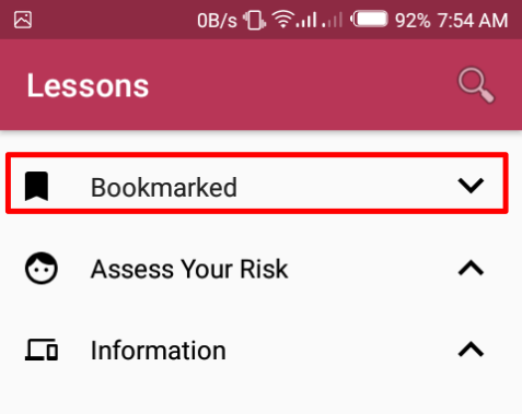 Bookmarked section in lessons menu