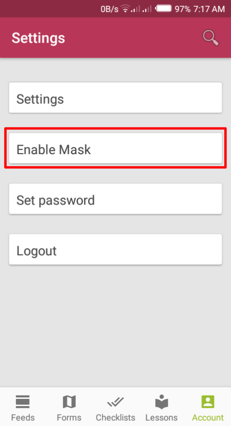 Enable Mask button